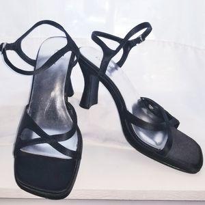 Fioni Black Satin Sandals
